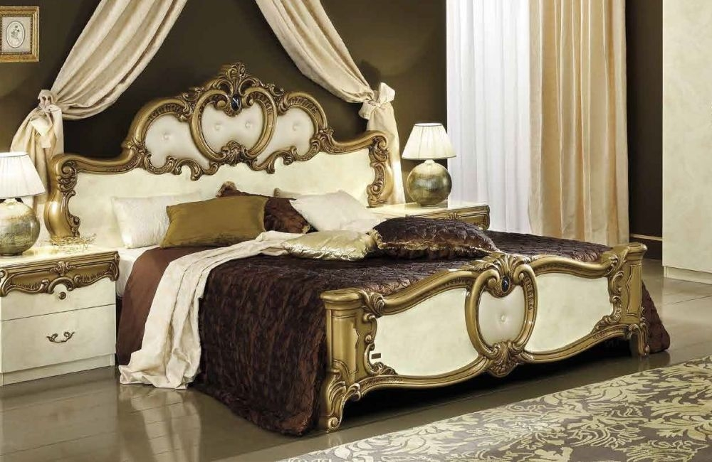 Camel Barocco Ivory and Gold Italian Leather Bed