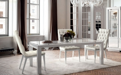 Camel Dama Bianca Day White Italian Extending Dining Table and Chairs