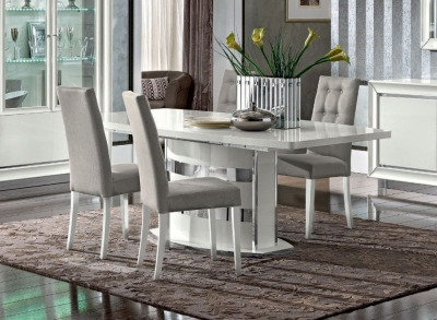 Camel Dama Bianca Day White Italian Large Extending Dining Table and Chairs