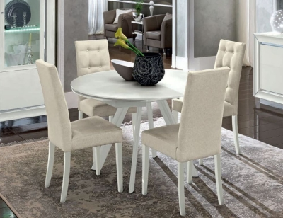 Camel Dama Bianca Day White Italian Round Extending Dining Table and Chairs