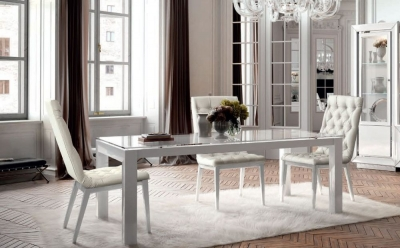 Camel Dama Bianca Day White Extending Large Dining Table with Capitonne Chairs