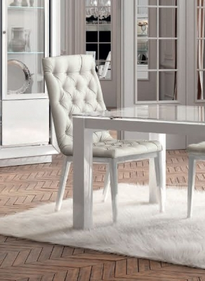 Camel Dama Bianca Day White Italian Capitonne Dining Chair (Pair)