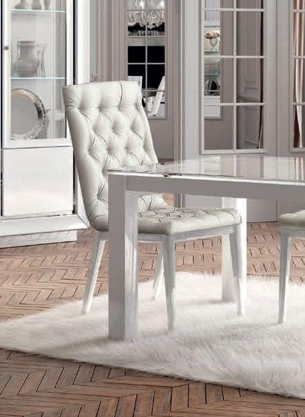 Camel Dama Bianca Day White Italian Capitonne Dining Chair (Pair)