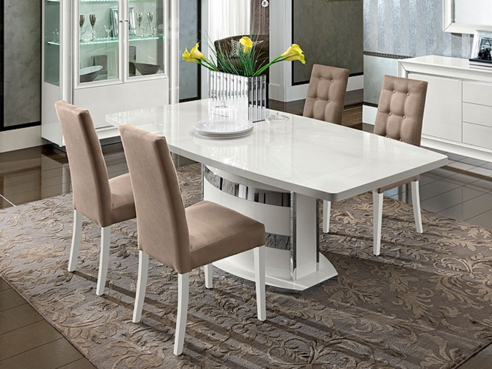 Camel Dama White Italian Dining Set - Rectangular Extending with 4 Chairs