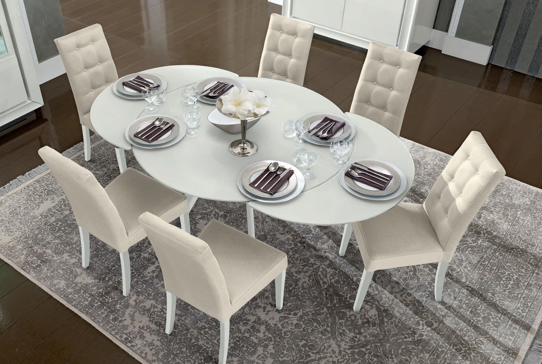 Camel Dama White Italian Dining Set - Round Extending with 4 Chairs