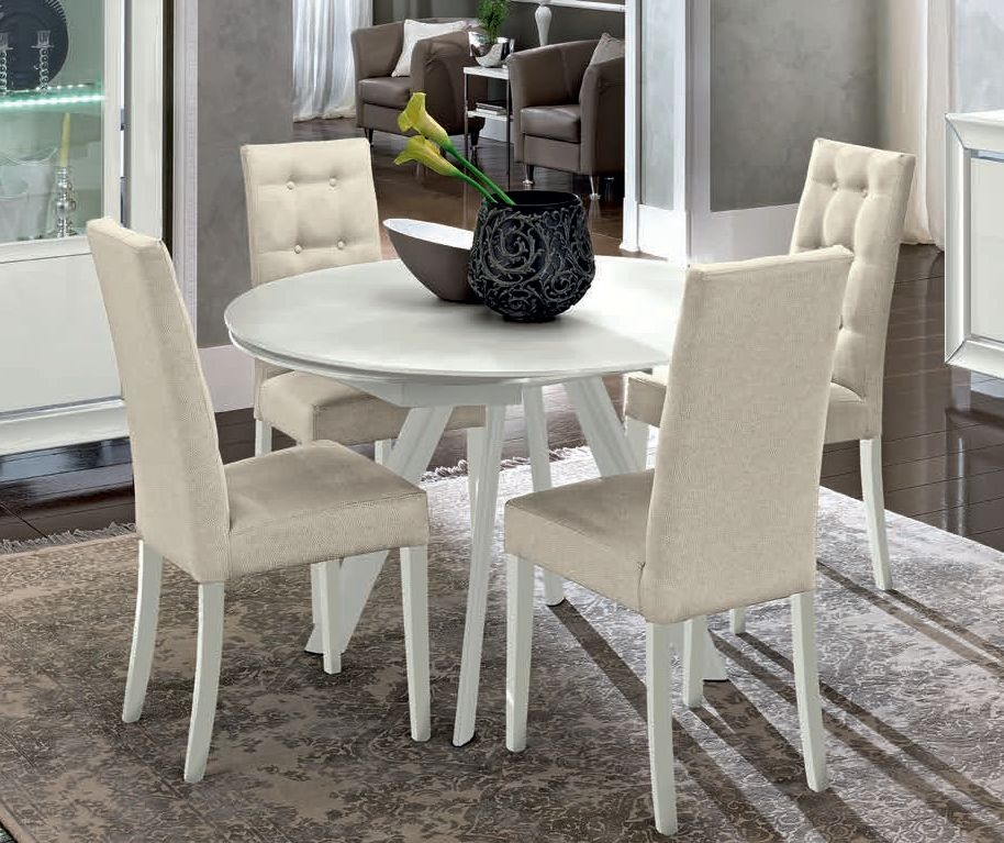 Camel Dama White Italian Round Extending Dining Table and 4 Chairs