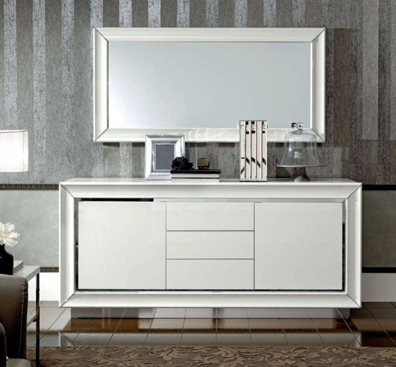 Camel Dama Bianca Day White Italian Large Buffet Sideboard