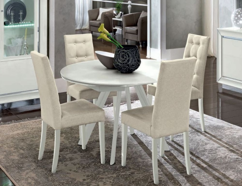 Camel Dama Bianca Day White Italian Round Extending Dining Table