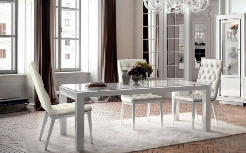 Camel Dama Bianca Day White Italian Extending Large Dining Table