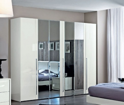Camel Dama Bianca Night White Italian 6 Door Mirror Wardrobe