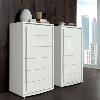 Camel Dama Bianca Night White Italian 6 Drawer Chest