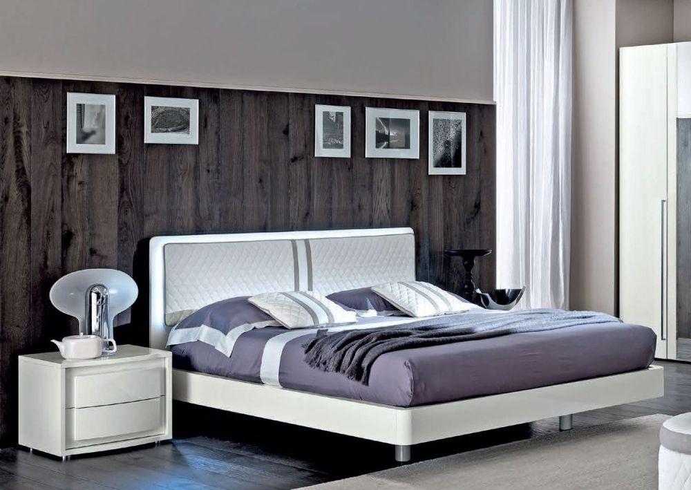 Camel Dama Bianca Night White Italian Rombi Bed with Luna Storage