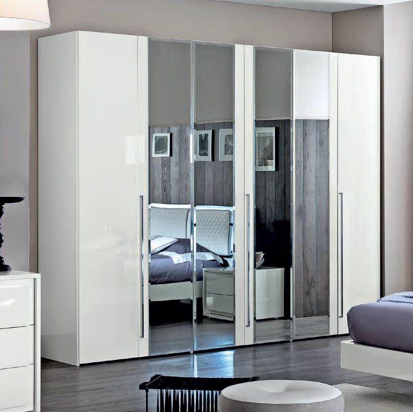 Camel Dama White Italian Mirror Hinged Door Wardrobe