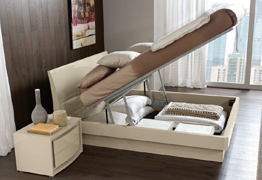 Camel Dama Vela Ivory Italian Storage Bed
