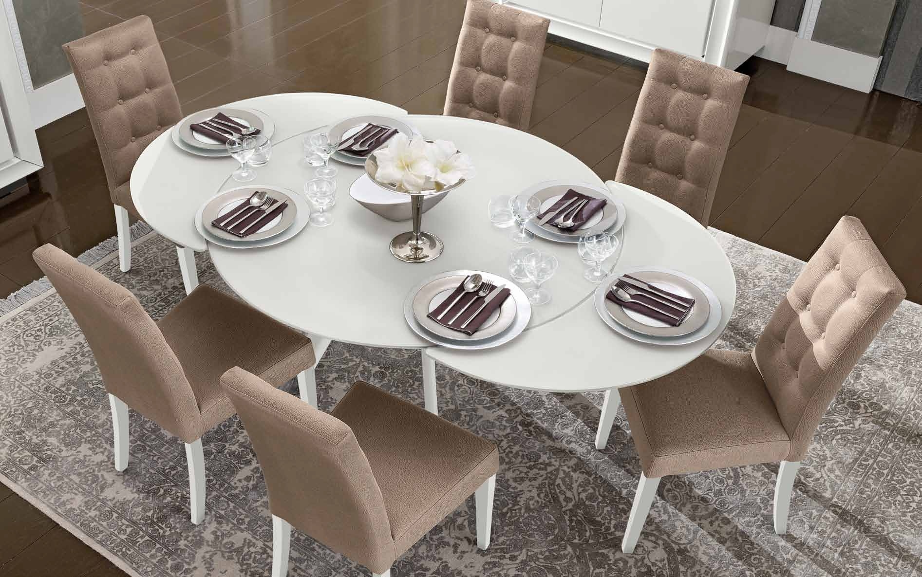 Camel Dama White Italian Dining Set - Round Extending with 6 Chair