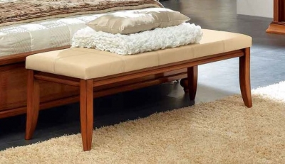 Camel Decor Italian Ivory Eco Leather Bench - Small