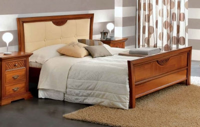Camel Decor Italian Pelle Legno Ivory Eco Leather Bed