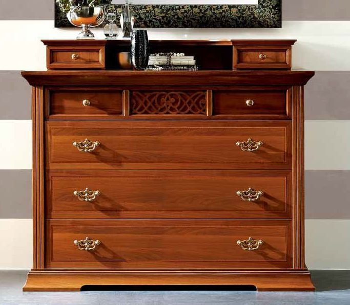 Camel Decor Italian Dresser - Wooden Top with Drawers