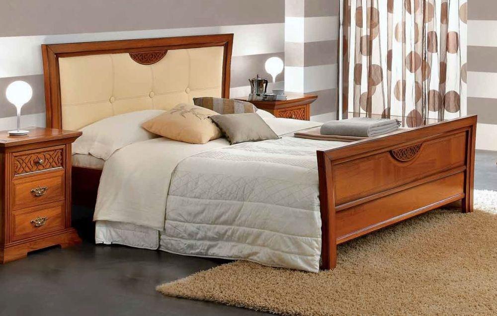 Camel Decor Italian Pelle Legno Ivory Eco Leather Bed