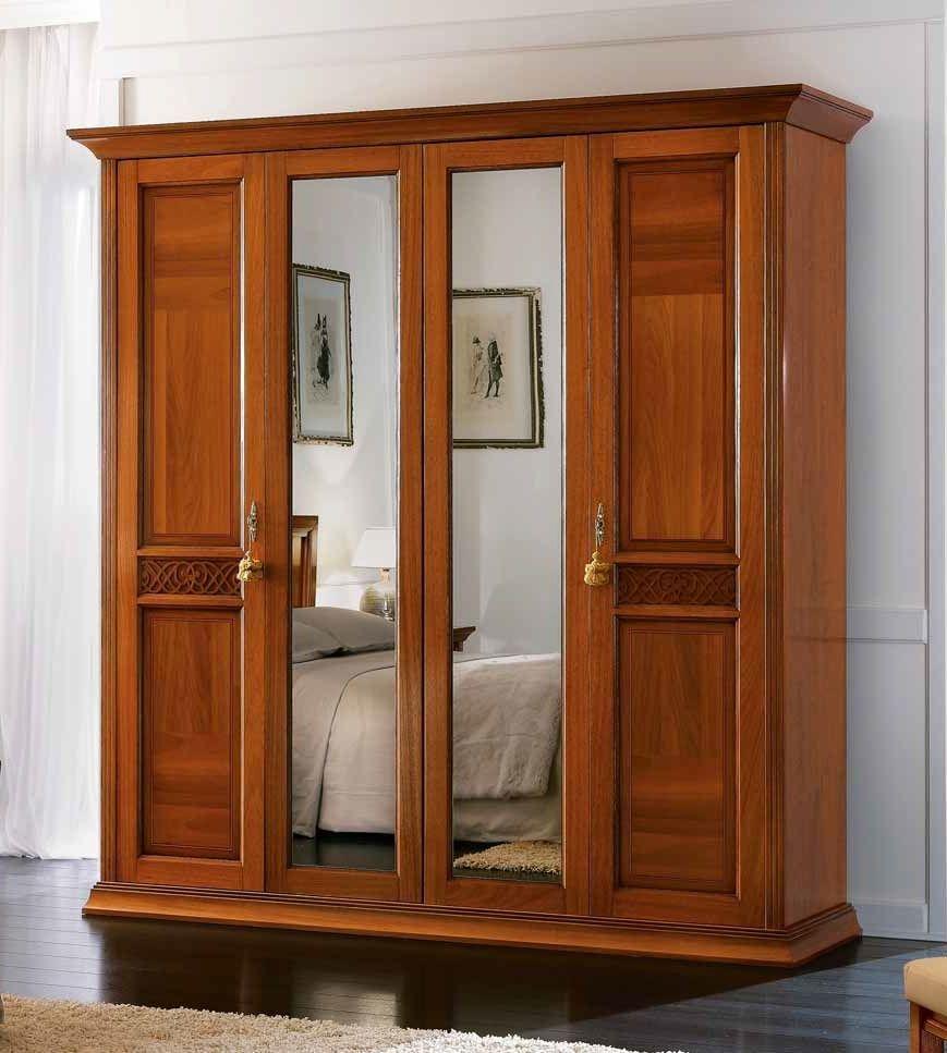 Camel Decor Italian Wardrobe - 4 Door with Mirror