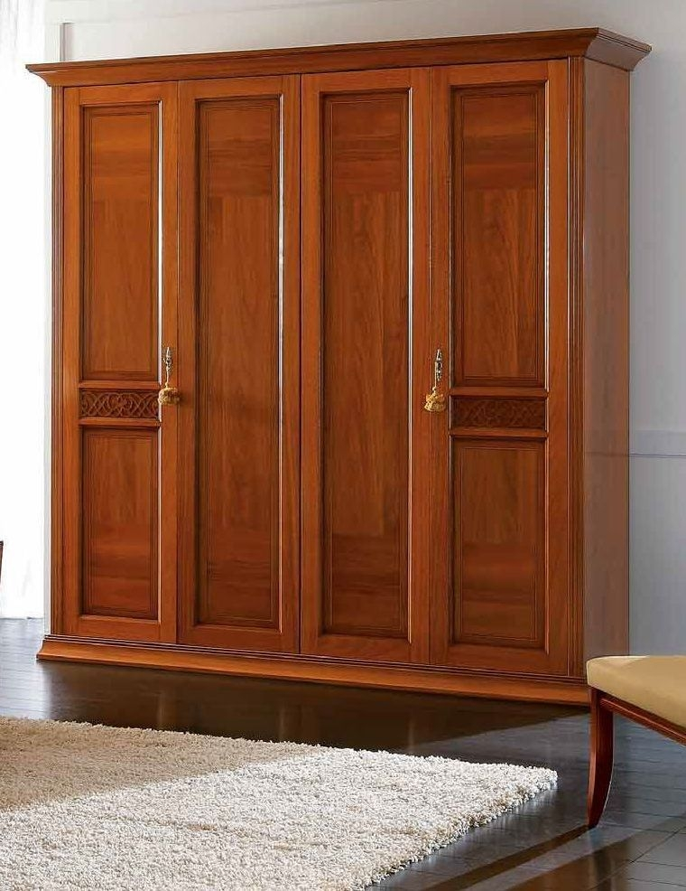 Camel Decor Italian Wooden Wardrobe - 4 Door