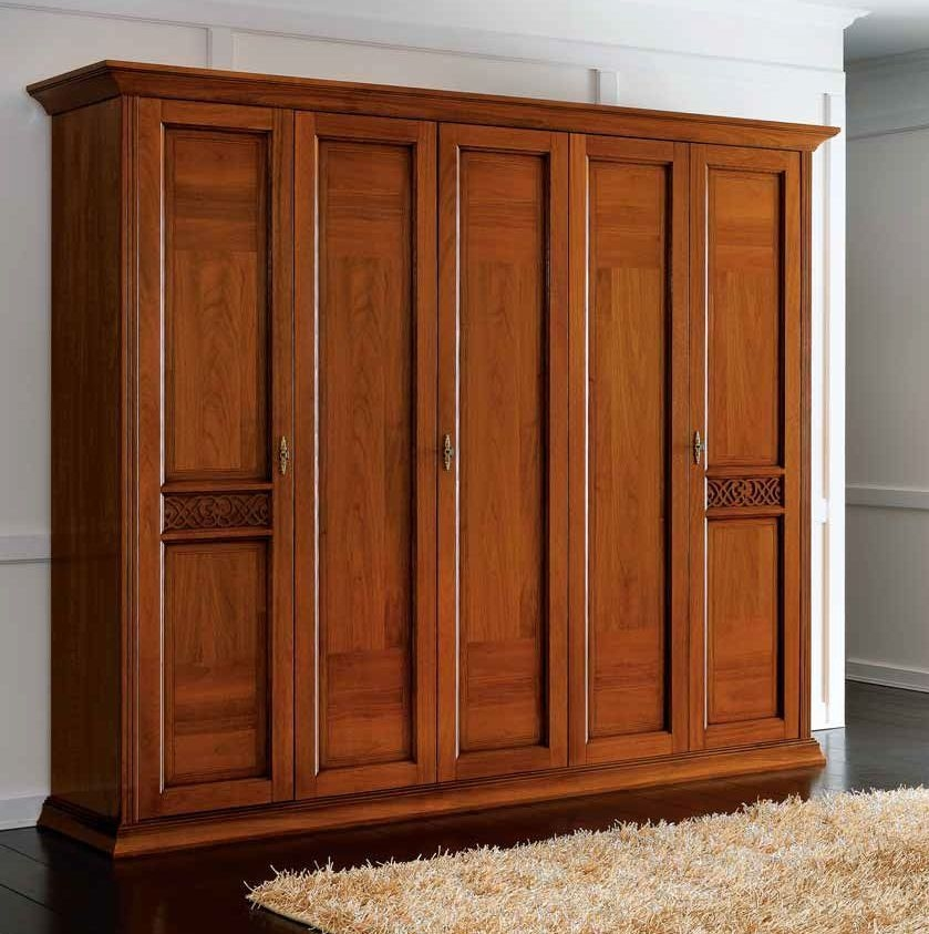 Camel Decor Italian Wooden Wardrobe - 5 Door