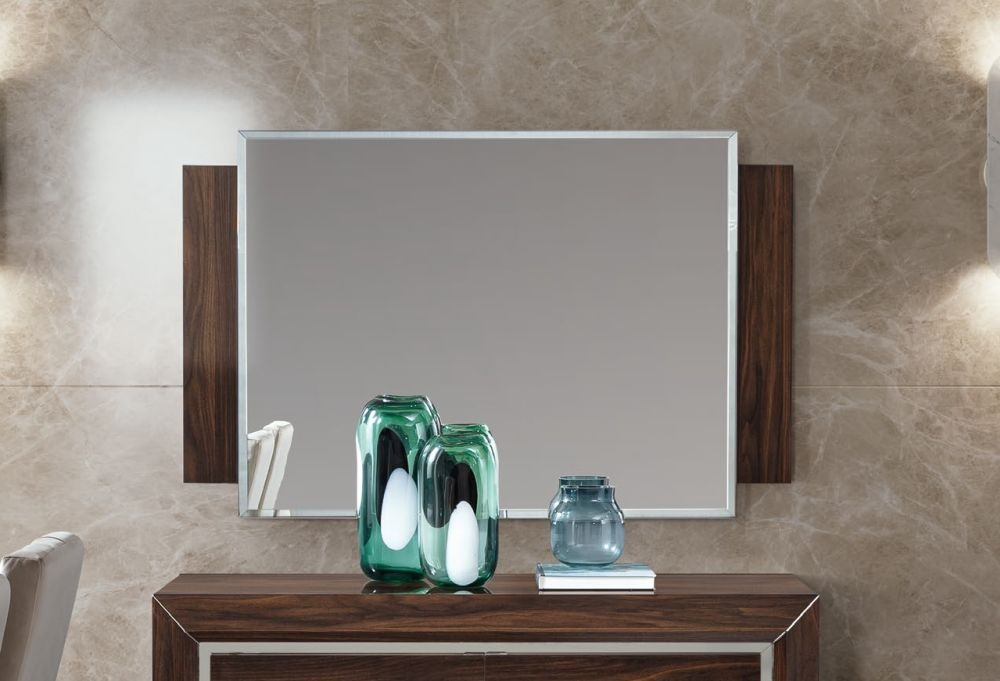 Camel Elite Day Patrician Walnut Italian Rectangular Mirror - 132cm x 85cm