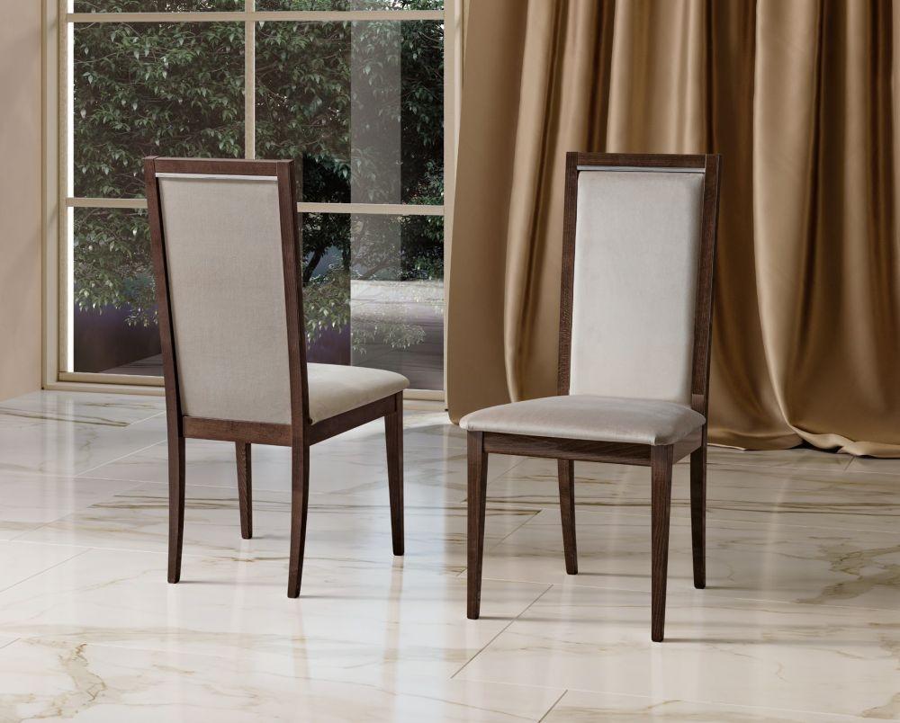 Camel Elite Day Patrician Walnut Italian Roma Liscia Dining Chair (Pair)