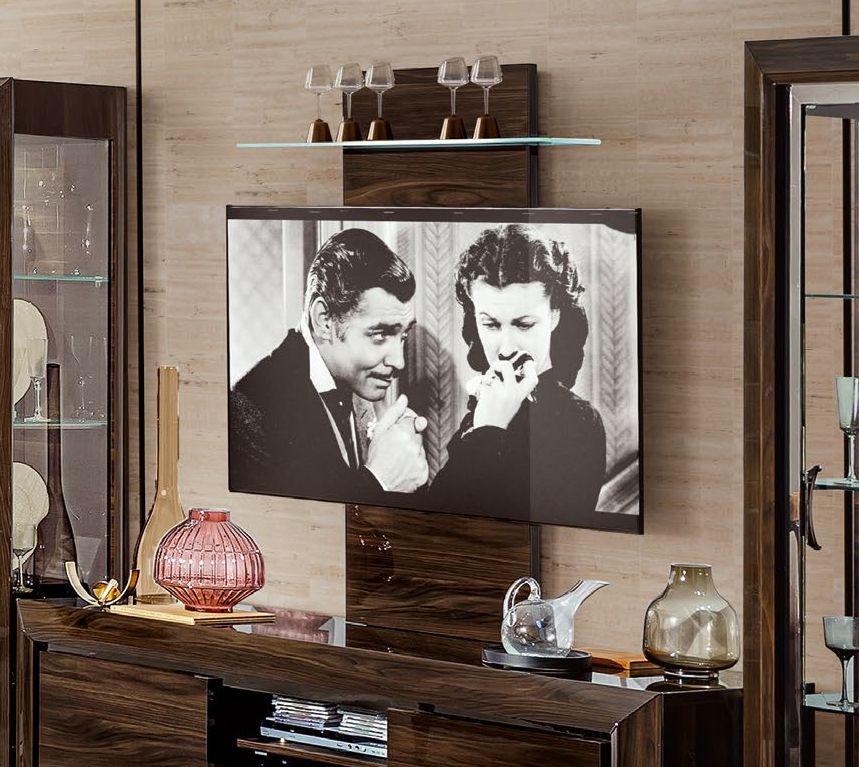 Camel Elite Day Patrician Walnut Italian TV Wall Panel with Glass Shelf