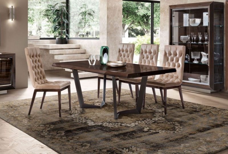 Camel Elite Day Patrician Walnut Italian Net Extending Dining Table and Capitonne Dining Chairs