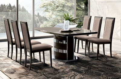 Camel Elite Day Silver Birch Italian Extending Dining Table and Rombi Nabuk Dining Chairs