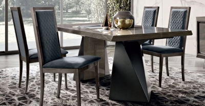 Camel Elite Day Silver Birch Italian Net Extending Dining Table and Rombi Blue Velvet Dining Chairs