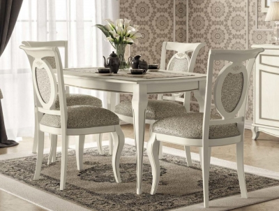 Camel Fantasia Day Antique White Italian Extending Dining Table and 4 Chairs