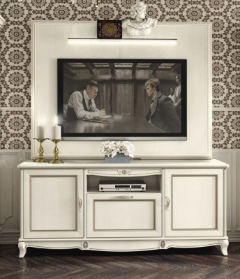 Camel Fantasia Day Antique White Italian TV Cabinet