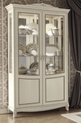 Camel Fantasia Day Antique White Italian 2 Door Vitrine with LED Light