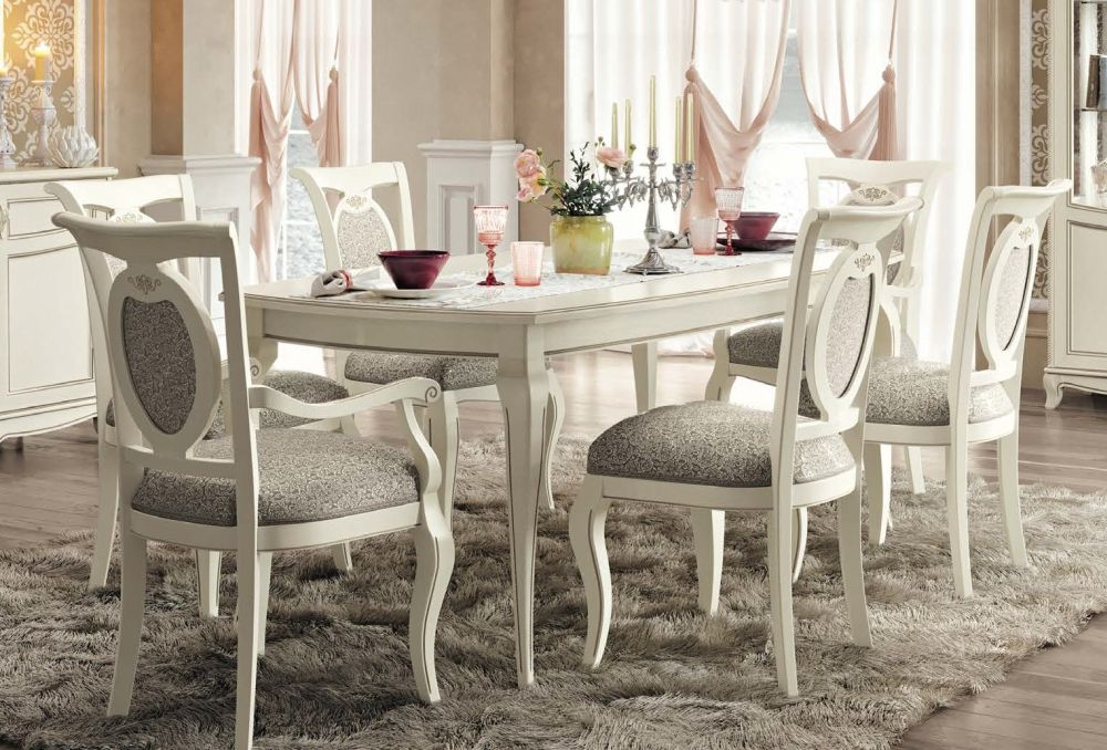 Camel Fantasia Day Antique White Italian 200cm Rectangular Extending Dining Set with 4 Chair and 2 Armchairs