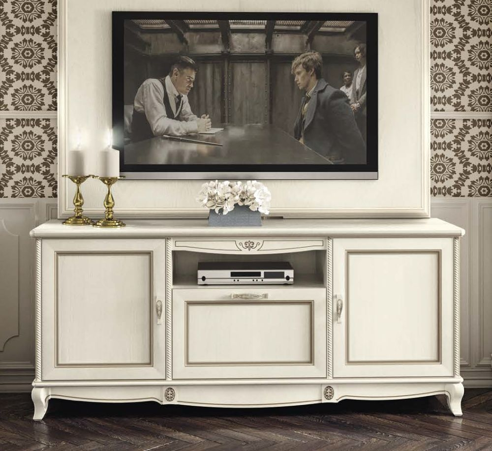 Camel Fantasia Day Antique White Italian TV Cabinet