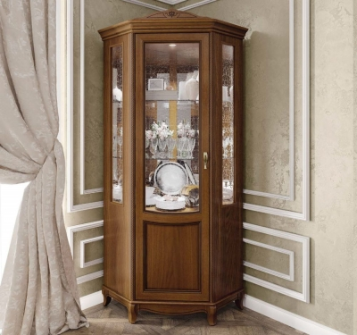 Camel Fantasia Day Walnut Italian 1 Left Door Corner Unit with LED Light