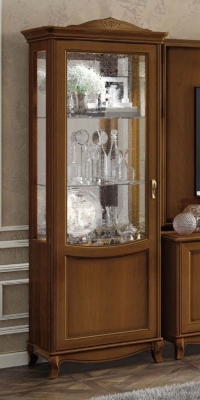 Camel Fantasia Day Walnut Italian 1 Left Door Vitrine with LED Light