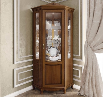 Camel Fantasia Day Walnut Italian 1 Right Door Corner Unit with LED Light