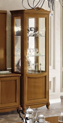 Camel Fantasia Day Walnut Italian 1 Right Door Vitrine with LED Light