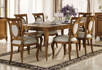 Camel Fantasia Day Walnut Italian Large Extending Dining Table with 4 Chairs and 2 Armchair