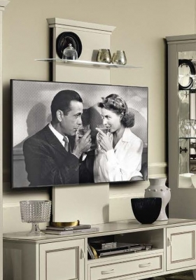 Camel Giotto Day Bianco Antico Italian TV Wall Panel with Glass Shelf