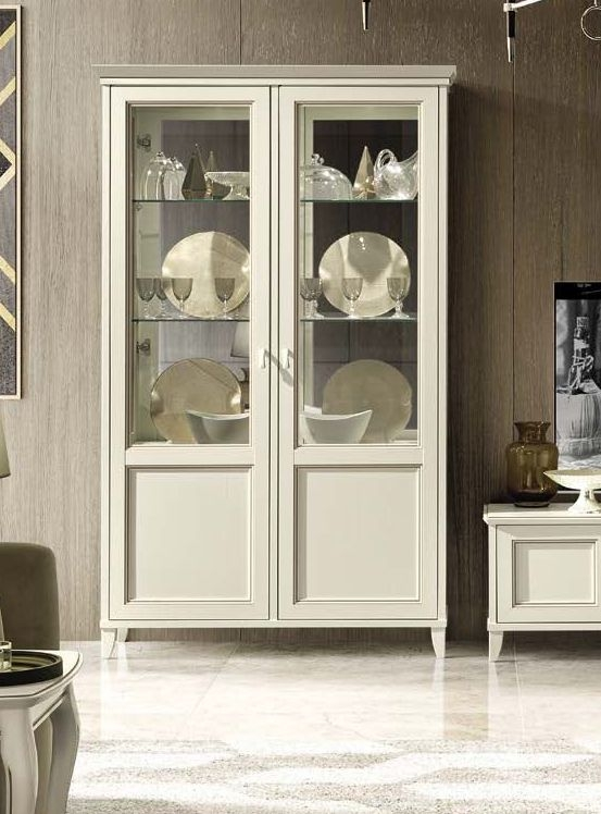 Camel Giotto Day Bianco Antico Italian 2 Door Vitrine with Light