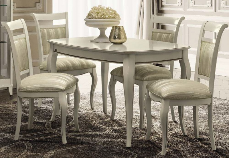 Camel Giotto Day Bianco Antico Italian Extending 140cm Dining Table with Casablanca Fabric Dining Chair