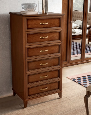 Camel Giotto Night Walnut Italian 6 Drawer Chest