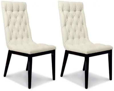 Camel La Star Day Black Italian Eco Leather Capitonne Dining Chair (Pair)
