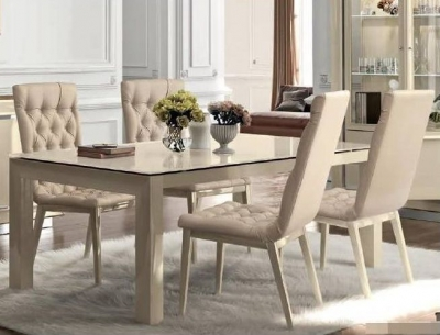 Camel La Star Day Ivory Italian Extending Large Dining Table with Capitonne Chairs