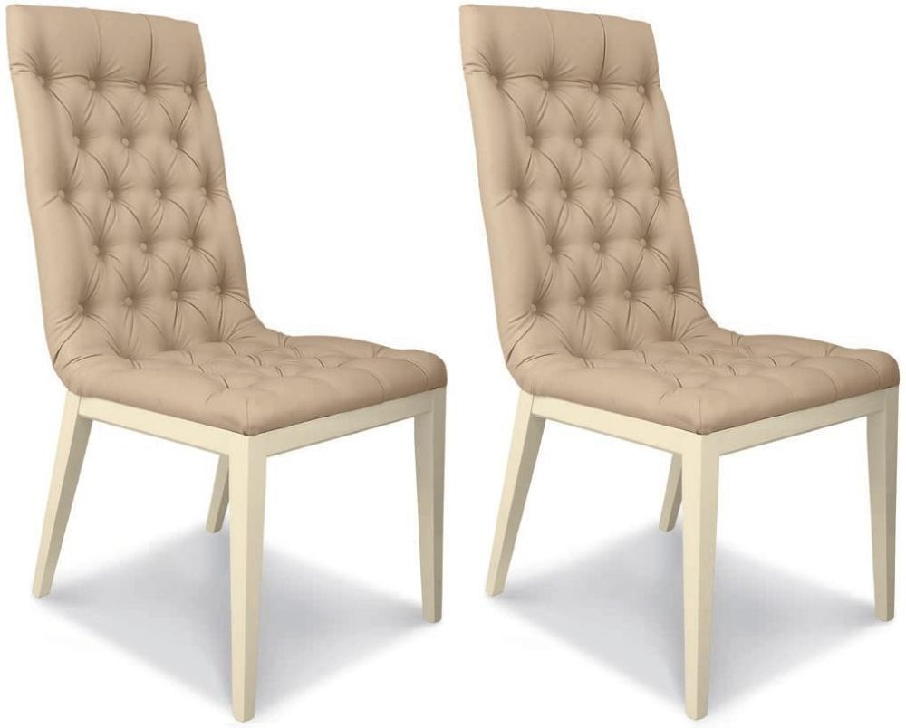Camel La Star Day Ivory Italian Eco Leather Capitonne Dining Chair (Pair)