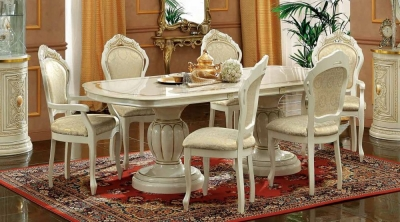 Camel Leonardo Day Ivory High Gloss and Gold Italian Extending Dining Table with 4 Chairs and 2 Armchair